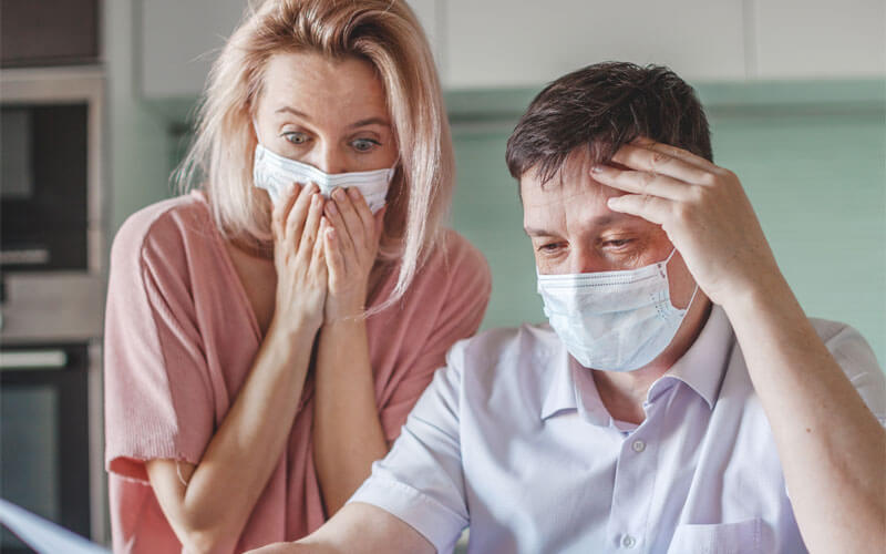 Stressed Couple in Masks